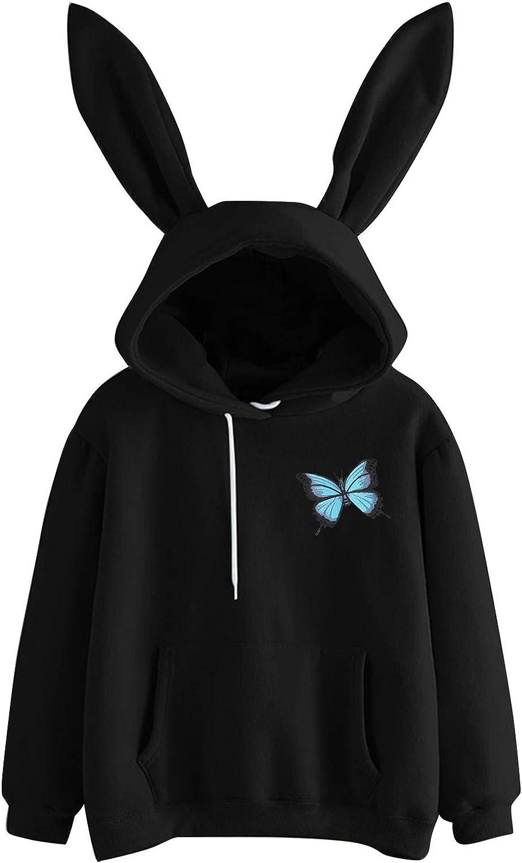 Womens Long Sleeve Rabbit Ear Hoodie Sweatshirt Cute Solid Pullover Winter Warm Loose Tops Blouse with Pocket