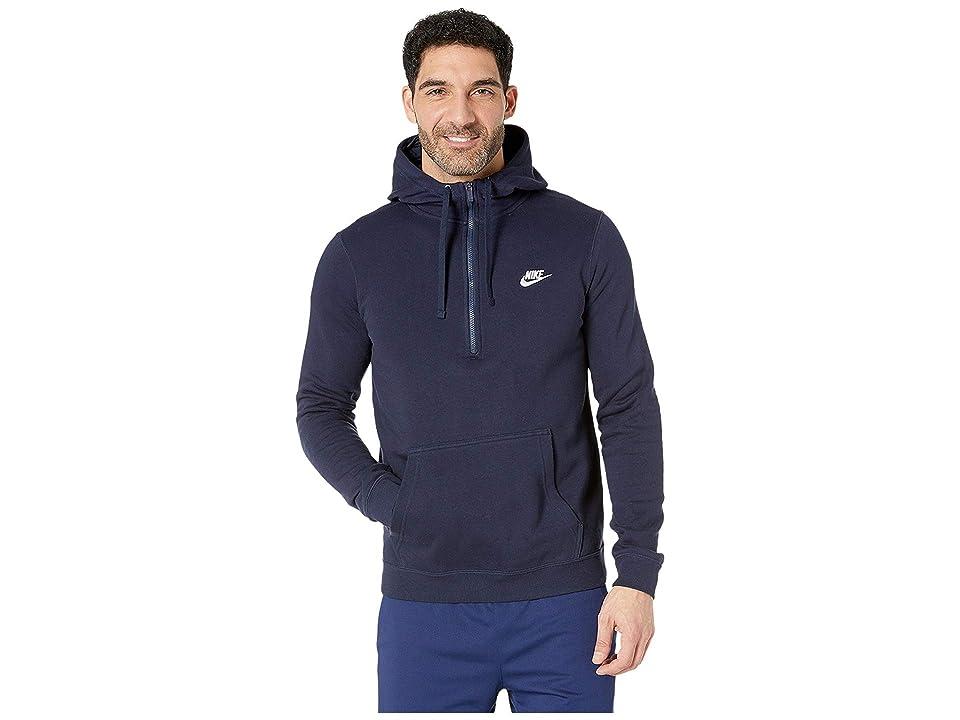 Nike Sportswear 1/2 Zip Hoodie (Obsidian/Obsidian/White) Men
