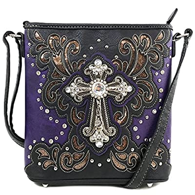 Justin West Bling Gleam Rhinestone Cross Floral Messenger Bag Purse with Long Cross Body Strap (Purple Messenger Only)