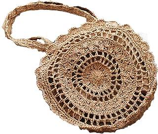Bohemian Straw Bags for Women Circle Beach Handbags Summer Rattan Shoulder Bags Handmade Knitted Travel Big Totes Bag,Yellow,S