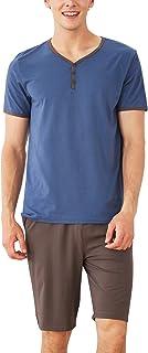 YAOMEI Mens Pyjamas Set Short, Mens Cotton Short Sleeves Nighties PJ Set Sleepwear Nightwear, Pocket Front Shirt Top with ...