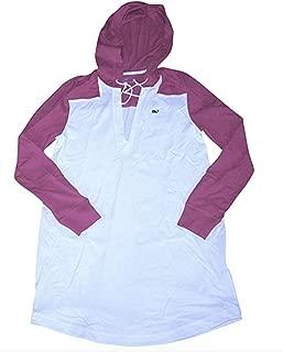 Vineyard Vines Women's L/S Hoodie Tee Cover-Up Dress (Large) White/Berry Hoody