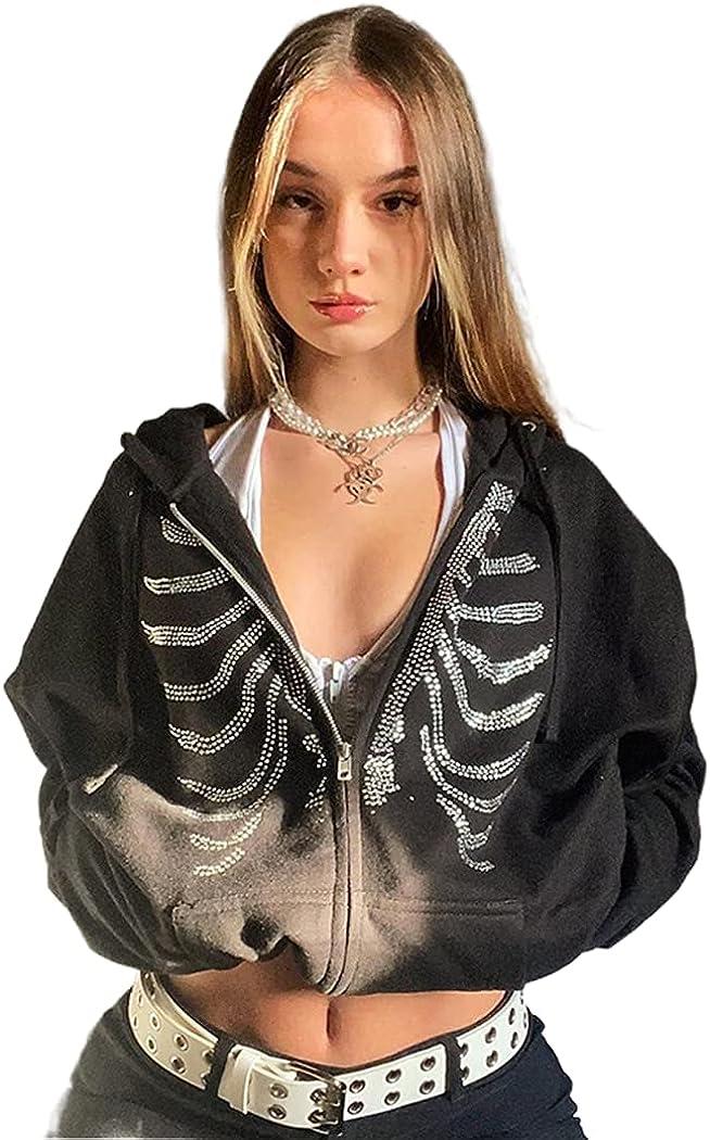 Zip Up Hoodie Women Goth Clothes Y2K Vintage Oversized Sweatshirt Rhinestone Skeleton Print Jacket Streetwear Coat