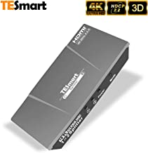 TESmart HDMI 2.0 Splitter 1x2 4K@60Hz 1 in 2 Out HDMI Splitter Amplifier Adapter Ultra HD 4K@60Hz 4:4:4 Compatible with PC PS3 PS4 Xbox Blu-ray Player Projector HDTV-HDMI 2.0, HDCP 2.2, 18 Gbps(Grey)