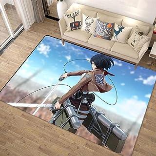进击的巨人 進撃の巨人Attack on Titan 地毯 动漫 可爱 垫子 珊瑚绒 蓬松 60厘米×90厘米 四季通用 绒毯 可洗 防螨 抗菌防臭 不掉色 毛绒地毯 不起球 吸收性 隔音 防滑-A_80x150cm