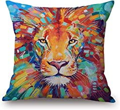 Throw Pillow Cover 18 x18 Oil Painting Colorful Vivid Lion Teal Blue Brown Fall Winter Home Decor Invisible Zipper Durable Decorative Cushion Cover Pillow Case Sofa Couch Bedroom Living Room Dorm