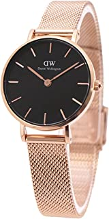 Daniel Wellington DW00600217 Mesh Stainless Steel Black-Dial Round Analog Unisex Watch - Gold