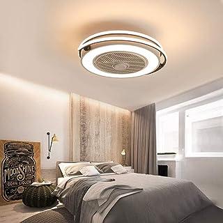 Ventilador eléctrico invisible luz simple habitación moderna para niños silencioso ventilador luz inteligente control remoto integrado luz de techo-D