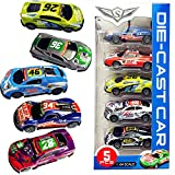 Pull Back Racing Cars Die cast Race Car Vehicles ,3 Inch Metal Friction Powered Car Toys for Toddlers, Set of 5 (Racing Cars)