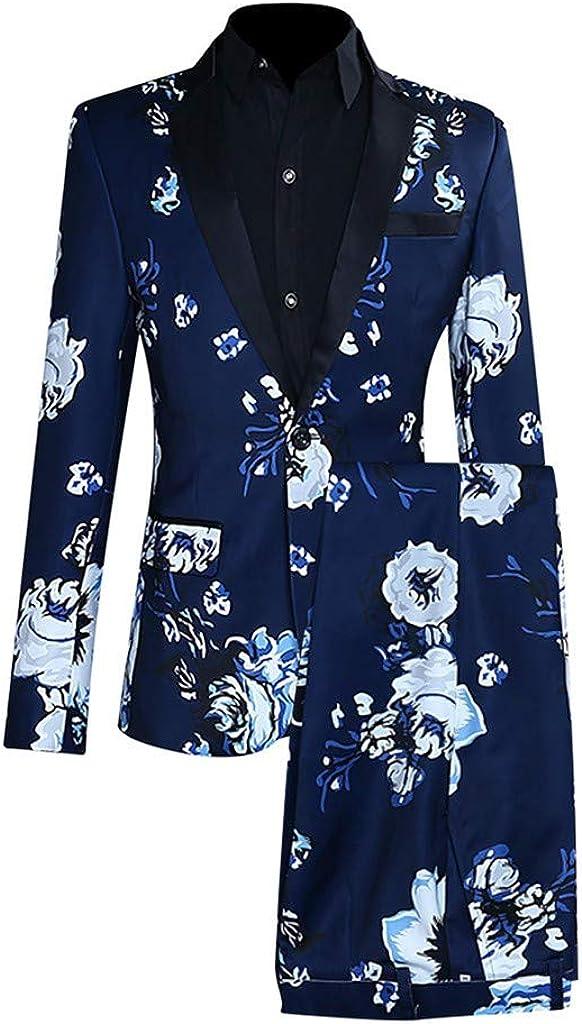 MODOQO Men's 2 Piece Slim Fit Floral Print Suit Stylish Business Wedding Suit Prom Tuxedo