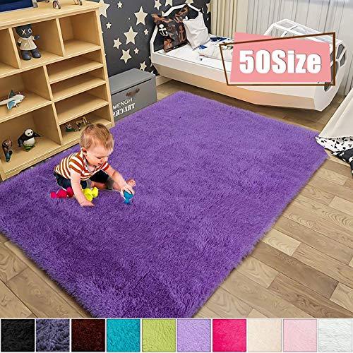 MENGH Flur Teppich 80x160cm, Schlafzimmer Teppiche Anti Rutsch Antistatisch Bambus Teppich fürWohnzimmerSchlafzimmeroderKinderzimmer, Lila