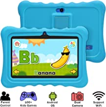 YUNTAB 7 inch Kids Edition Tablet - Android OS & Quad Core CPU, 1GB RAM, 8GB ROM, Kids Software Pre-Installed, Premium Parent Control with Protecting Silicone Case(No Charger - Blue)