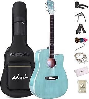 گیتار آکوستیک مبتدی ADM ، دروس رایگان بسته گیتار دانش آموزان کودکان 41 اینچ با کیسه گیگ ، تیونر ، بند ، تابلوها ، رشته های اضافی ، آبی
