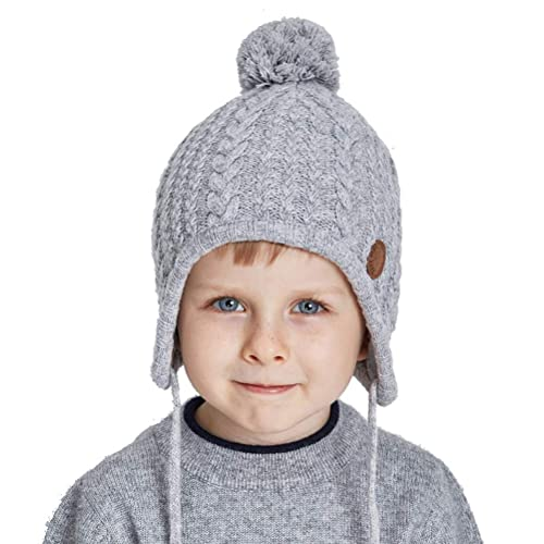 7ff5f09931d SOMALER Toddler Kids Winter Ear Flap Beanie Hat Boy Girl Fur Pompom Knit  Hats