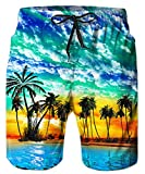 TUONROAD 3D Prints Orange Red Bright Swim Board Shorts Male Swim Trunks Bright Swimming Costume with Pocket for Mens with Pocket and Lining,X-Large,Beach-b