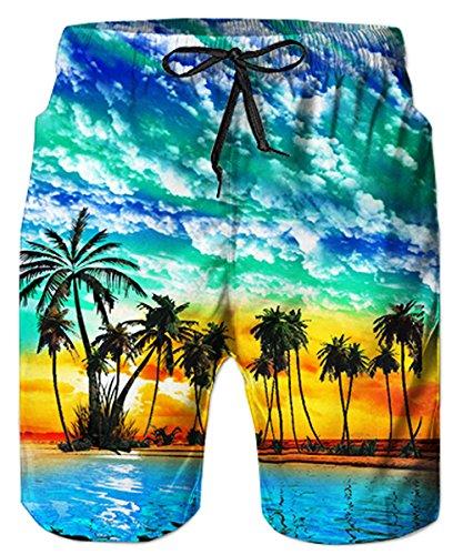 TUONROAD Sunshine Beach Theme Blue Seawater Male Swimwear Trunks Trendy Board Swim Trucks Awesome Swim Shorts for Men Boy Toddler Youth Boy,Large,Beach-b