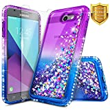 NageBee Samsung Galaxy J3 Luna Pro Case, J3 Emerge/J3 Prime/J3 Eclipse/J3 Mission/J3 2017/Sol 2/Amp Prime 2/Express Prime 2 w/[Tempered Glass Screen Protector] Glitter Liquid Cute Case -Purple/Blue