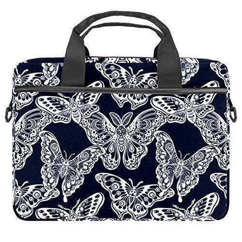 Laptop Sleeve Business Briefcase Messenger Bag with Detachable Shoulder Strap Dark Blue Black Hybrid Butterfly