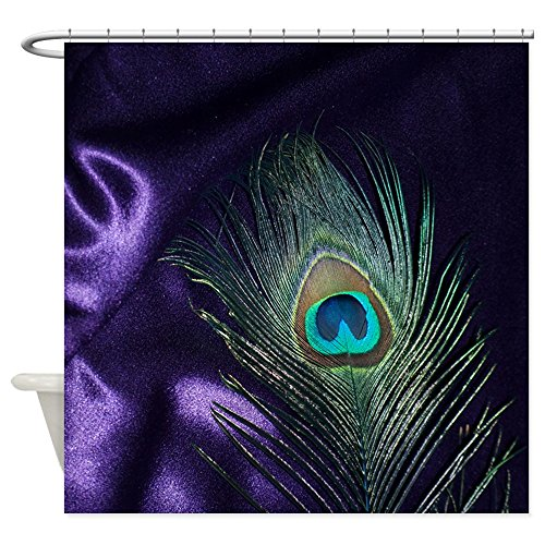 "CafePress Purple Peacock Feather Shower Curtain Decorative Fabric Shower Curtain (69""x70"")"
