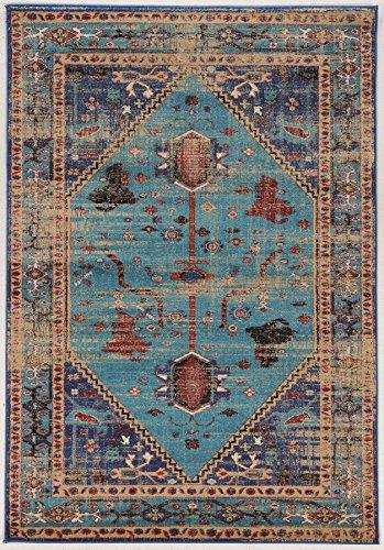 Linon Collection Serape Heriz Turquesa/Multi 2x3, 2'X3', Azul