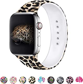 MITERV Compatible with Apple Watch Band 42mm 44mm Soft Silicone Fadeless Pattern Printed Replacement Bands for iWatch Series 5,4,3,2,1 Leopard S/M