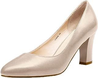 JARO VEGA Women's Soft Goatskin Genuine Leather Pumps Slender Block Heel Closed Almond Toe Dress Shoes