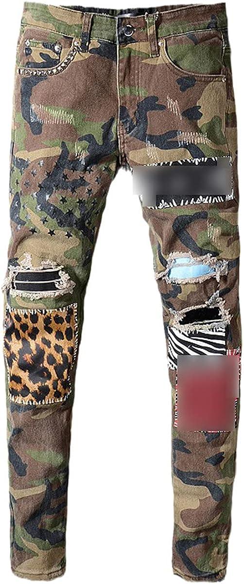 CACLSL Star Print Jeans Slim-fit Rivet Hole Stretch Denim Trousers Check Trousers Men's Camouflage Leopard Patchwork