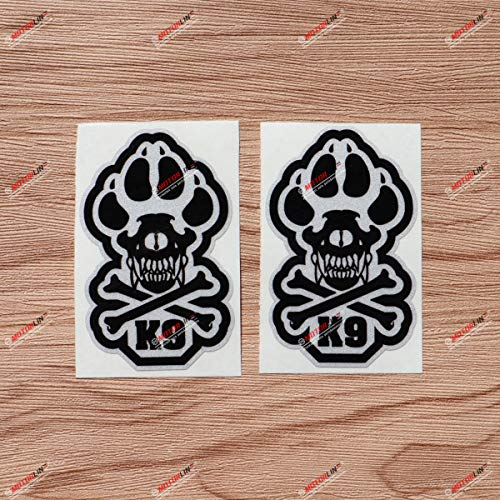 2X Reflective 4'' K9 K-9 Police Dog Unit Skull Bone Decal Sticker Car Vinyl