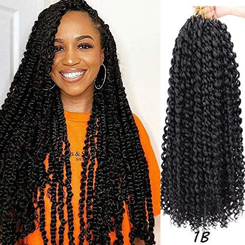 MOBOK Passion Twist Hair 18 Inch Long Bohemian Curl Passion Twist Hair 1b Water Wave Crochet Hair 6 Packs Braiding Hair Water Wave For Black Women Deep Wave Synthetic Braiding Hair(18inch, 1B) …