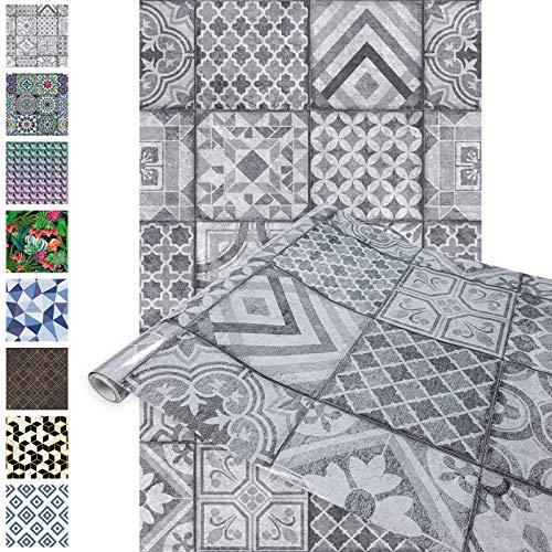 DecoMeister Klebefolien Deko-Folien Selbstklebefolie Möbelfolie Selbstklebend 67,5x150 cm Aztekische Fliesen Visibi Grau