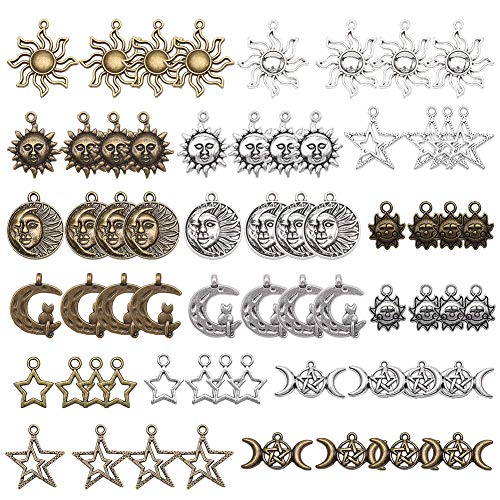 SUNNYCLUE 64pcs 16 Styles Star Sun Moon Charms Pendants for DIY Necklace Bracelet Jewellery Making, Lead Free, Nickel Free and Cadmium Free, Antique Silver & Antique Bronze