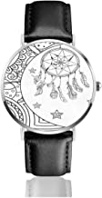 Watches Reloj de Pulsera Analógico Monoaguja de Cuarzo para Hombre Reloj para Hombre de Cuarzo Vector de Cazador de sueños de Estrellas de Media Luna con Correa en Cuero