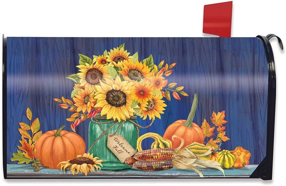 Briarwood Lane Fall Mason Inventory cleanup selling sale Jar Mailbox Magnetic Cover Sunflowers shipfree