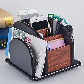 منظم سطح المكتب الخشبي، دوران 360 درجة، 5 حاويات مقصورات، حامل مجلات أقلام تخزين المقص، مثالي لللوازم المكتبية، وأواني الم...