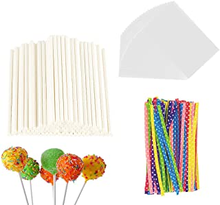 300 Pieces Lollipop Set 100PCS Parcel Bags + 100 Pieces Treat Sticks + 100 Pieces Colorful Metallic Wire for Lollipops Can...