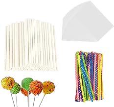 300 Pieces Lollipop Set 100PCS Parcel Bags + 100 Pieces Treat Sticks + 100 Pieces Colorful Metallic Wire for Lollipops Can...