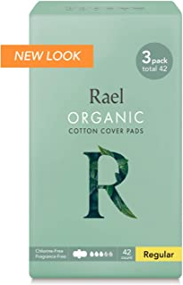Rael Certified Organic Cotton Menstrual Regular Pads, Ultra Thin Natural Sanitary Napkins with Wings (42 Total), Pack of 3