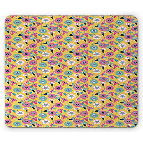 Flower Mouse Pad, Continu Abstract Bindweeds Demonstratie Zomer Tone Kleuren Illustratie, Mosterd en Zeevruchten