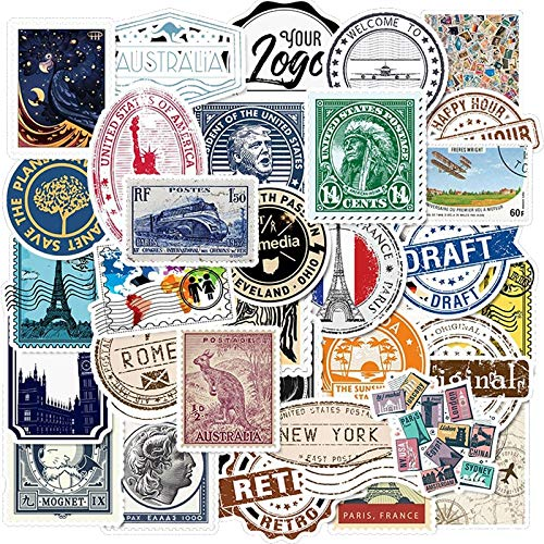 Pack Stickers Retro Travel Letter Stempel Sticker Waterdichte Diy Voor Op Laptop Telefoon Skateboard Koffer Bagage Sticker 50 Stks