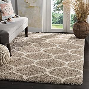 Safavieh Hudson Shag Collection SGH280S Moroccan Ogee Trellis 2-inch Thick Area Rug, 8′ x 10′, Beige / Ivory
