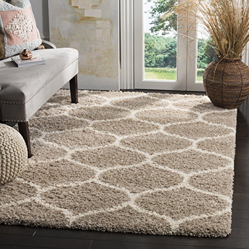 Safavieh Hudson Shag Collection SGH280S Beige and Ivory Moroccan Ogee Plush Area Rug (8' x 10')