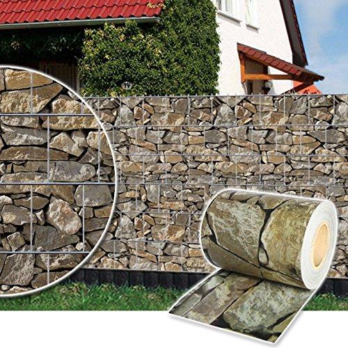 Plantiflex Sichtschutz Rolle 35m Blickdicht PVC Zaunfolie Windschutz für Doppelstabmatten Zaun (Stein-Optik)