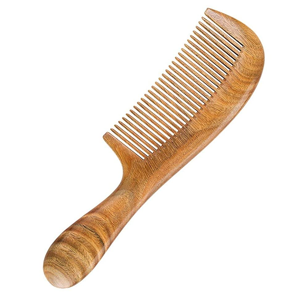 脅かすほこりそれによってGuomao ナチュラルグリーンビャクダンの櫛の滑らかな髪の櫛長く肥厚全体の木製の櫛ラウンドハンドル