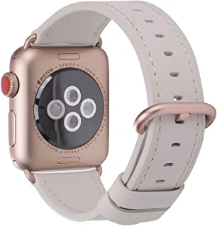 PEAK ZHANG Compatible with Apple Watch Band 38mm/40mm Women Leather Replacement Strap with Series 4/3 Rose Gold Clasp for iWatch Series 4,3,2,1(Off White,38mm 40mm S/M)