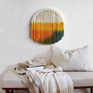 FLBER Macrame Wall Hanging Dip Dyed Circle Hoop Yarn Tapestry Gypsy Home Décor,13.7