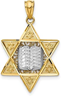 14k Two Tone Yellow Gold Jewish Jewelry Star Of David Pendant Charm Necklace Religious Judaica Fine Jewelry Gifts For Women For Her