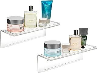 Mkono Adhesive Acrylic Floating Shelves 10-Inch Wall Display Shelf Bathroom Organizer Kitchen Storage Rack No Drilling, Set of 2, Clear