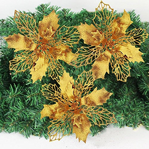 Crazy Night Glitter Poinsettia Christmas Tree Ornaments Pack of 10 (Gold)