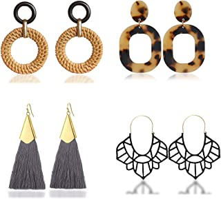 4 Pairs Set,Handmade Rattan Earrings Straw Wicker Braid Drop Dangle,Hoop Tassel Earrings for Women,Acrylic Earrings Lightweight Geometric Statement Earrings, for Women Girls (A:Brown)