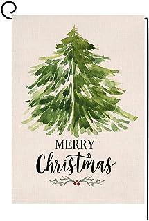 BLKWHT عيد الميلاد المجيد شجرة خضراء صغيرة علم حديقة صغيرة عمودي مزدوج الجانبين مزرعة الخيش ساحة الديكور الخارجي 12.5 × 18...